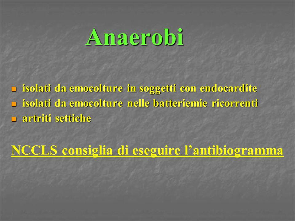 Anaerobi NCCLS consiglia di eseguire l'antibiogramma