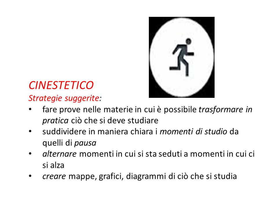 CINESTETICO Strategie suggerite: