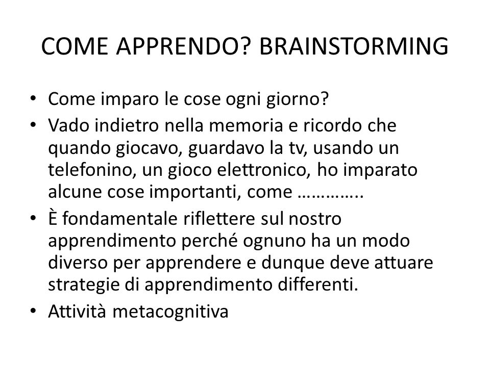 COME APPRENDO BRAINSTORMING