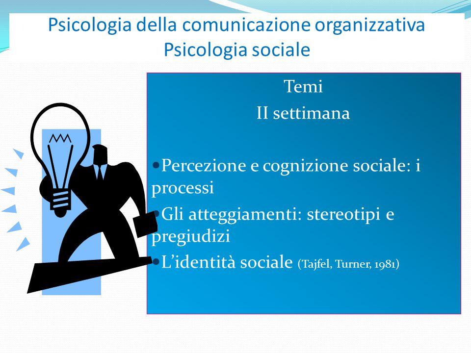 Psicologia della comunicazione organizzativa Psicologia sociale