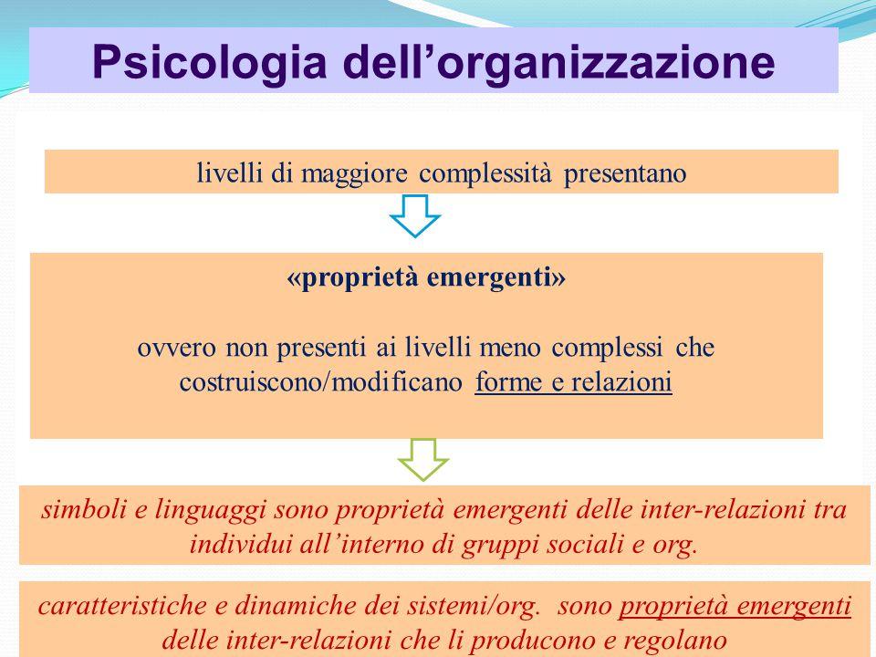 Psicologia dell'organizzazione «proprietà emergenti»
