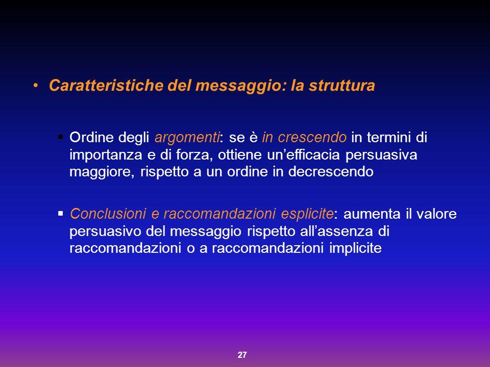 Caratteristiche del messaggio: la struttura