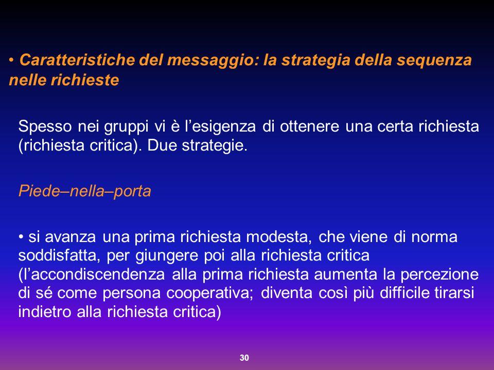 Caratteristiche del messaggio: la strategia della sequenza nelle richieste
