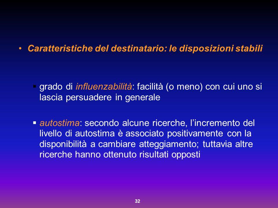 Caratteristiche del destinatario: le disposizioni stabili