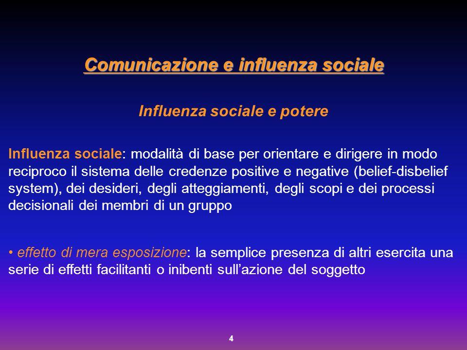Comunicazione e influenza sociale Influenza sociale e potere