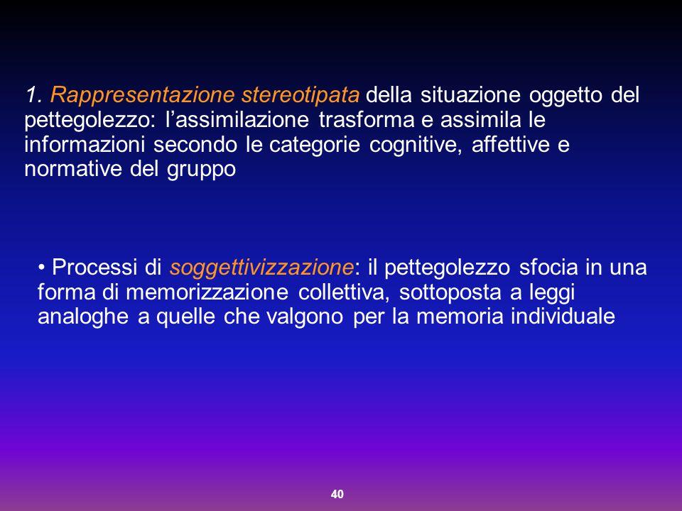 Rappresentazione stereotipata della situazione oggetto del pettegolezzo: l'assimilazione trasforma e assimila le informazioni secondo le categorie cognitive, affettive e normative del gruppo