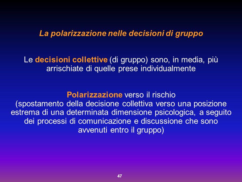 La polarizzazione nelle decisioni di gruppo