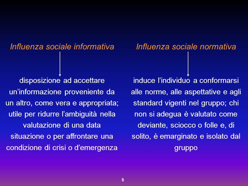 Influenza sociale informativa Influenza sociale normativa