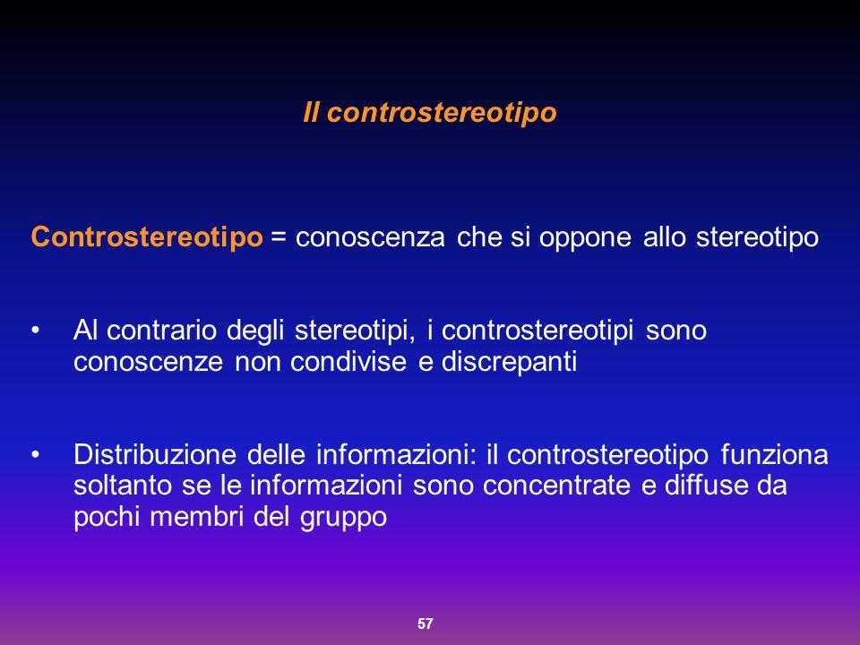 Il controstereotipo Controstereotipo = conoscenza che si oppone allo stereotipo.