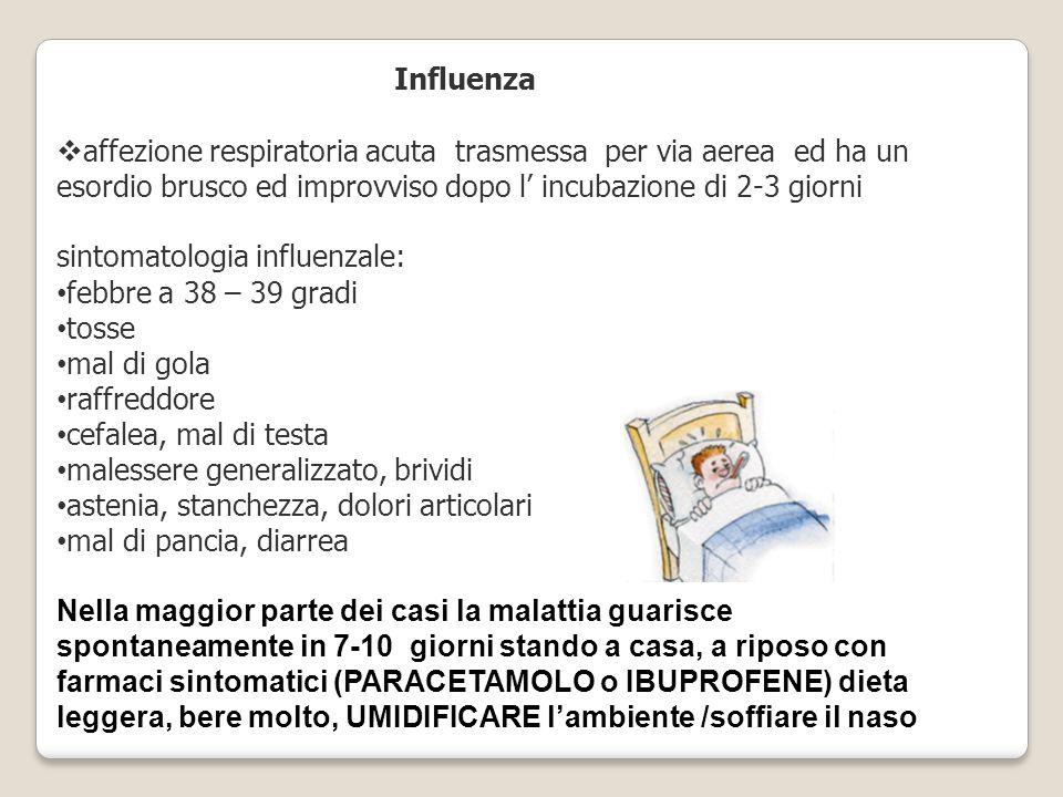 Influenza affezione respiratoria acuta trasmessa per via aerea ed ha un. esordio brusco ed improvviso dopo l' incubazione di 2-3 giorni.