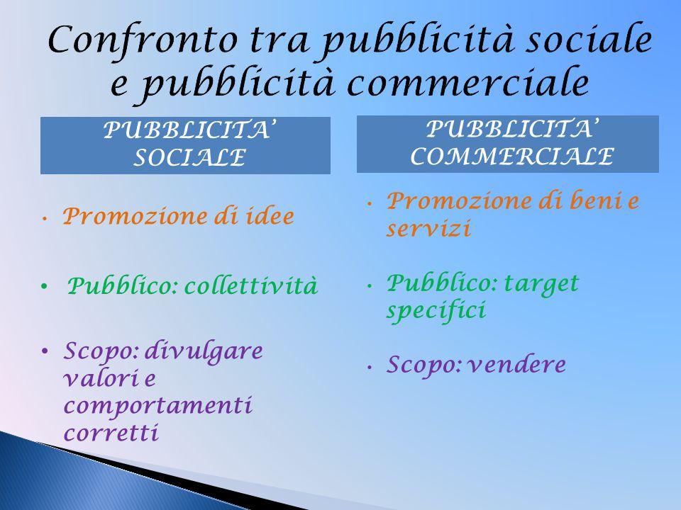 Confronto tra pubblicità sociale e pubblicità commerciale