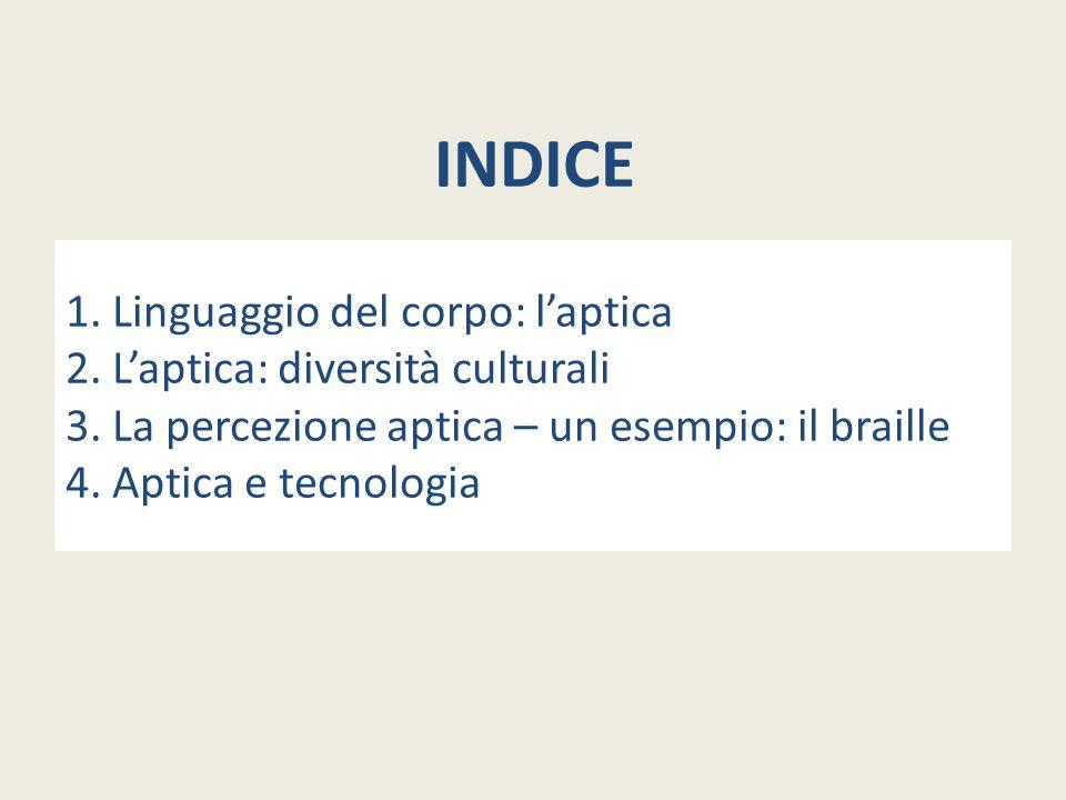 INDICE 1. Linguaggio del corpo: l'aptica