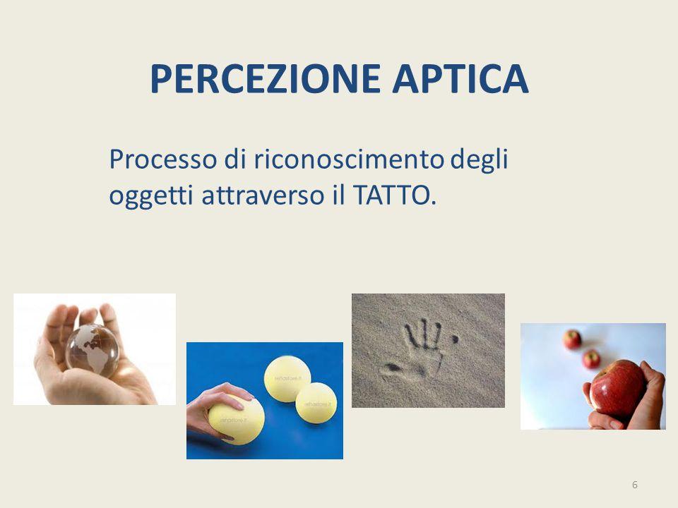 Processo di riconoscimento degli oggetti attraverso il TATTO.