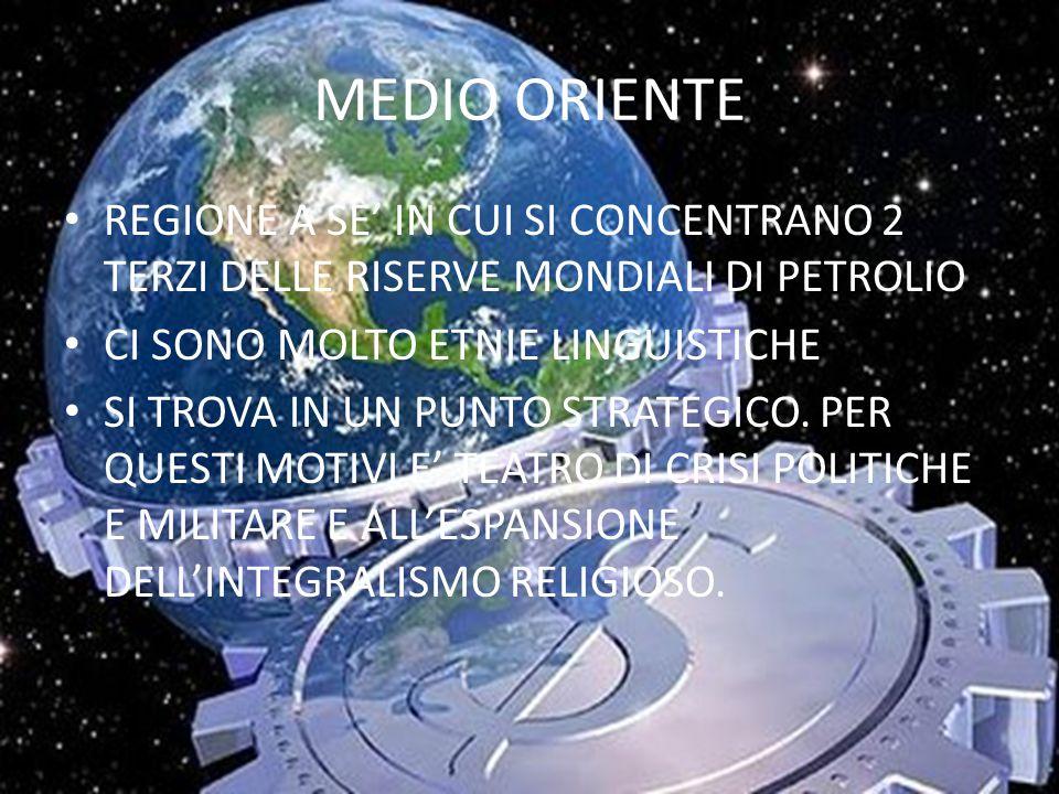 MEDIO ORIENTE REGIONE A SE' IN CUI SI CONCENTRANO 2 TERZI DELLE RISERVE MONDIALI DI PETROLIO. CI SONO MOLTO ETNIE LINGUISTICHE.