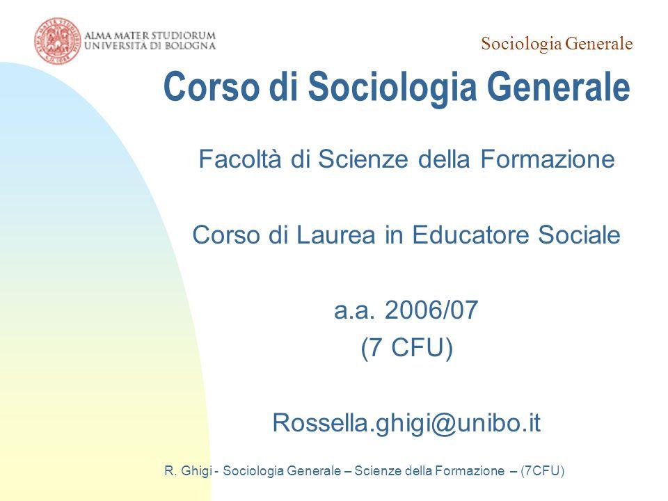 Corso di Sociologia Generale