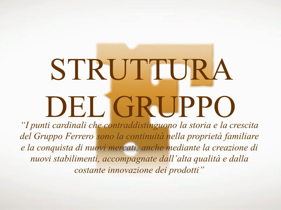 STRUTTURA DEL GRUPPO