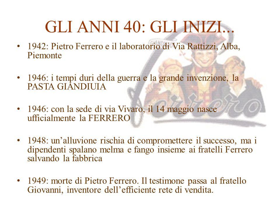 GLI ANNI 40: GLI INIZI... 1942: Pietro Ferrero e il laboratorio di Via Rattizzi, Alba, Piemonte.