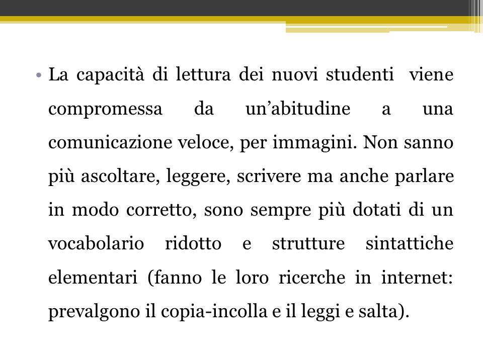 La capacità di lettura dei nuovi studenti viene compromessa da un'abitudine a una comunicazione veloce, per immagini.
