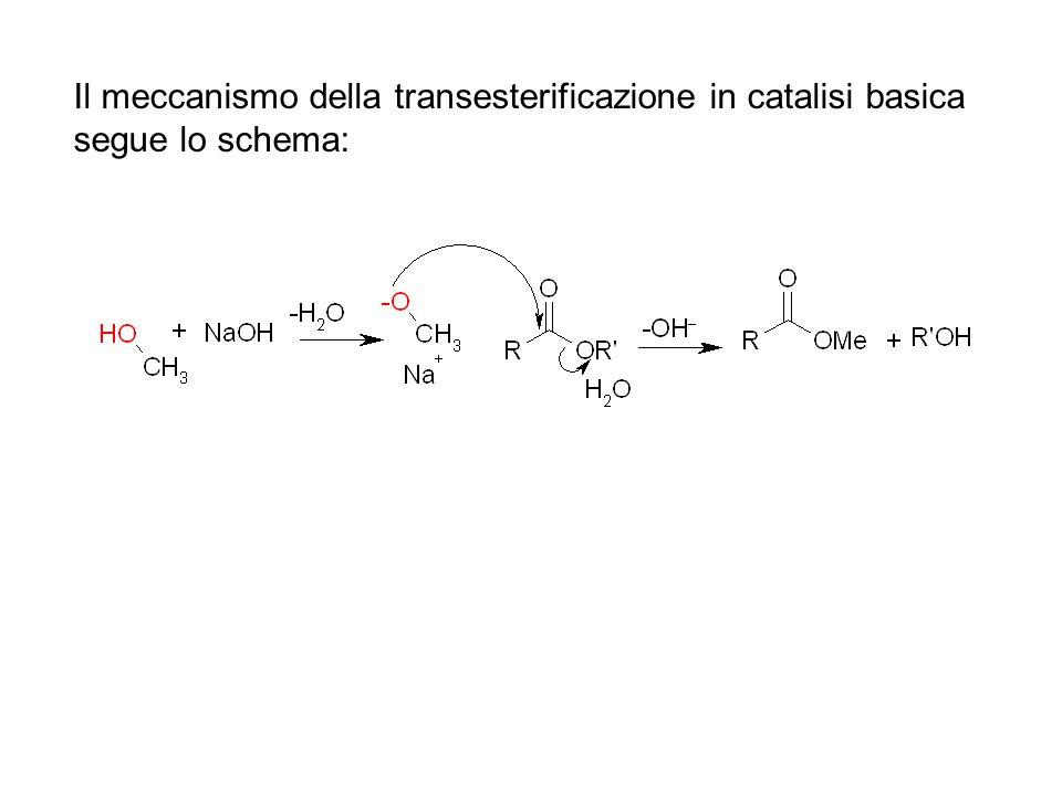 Il meccanismo della transesterificazione in catalisi basica segue lo schema: