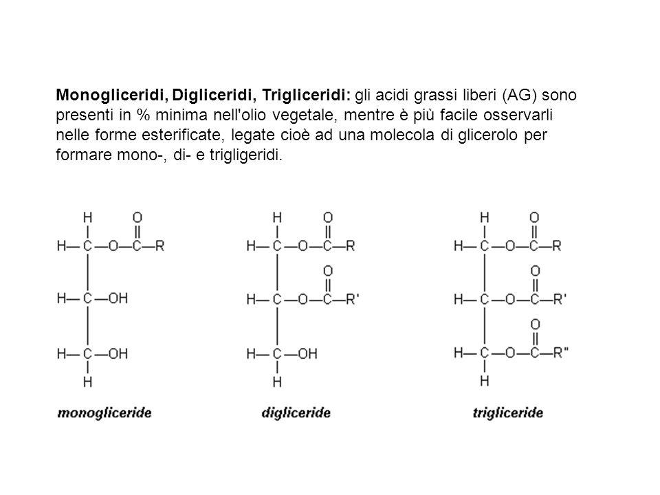 Monogliceridi, Digliceridi, Trigliceridi: gli acidi grassi liberi (AG) sono presenti in % minima nell olio vegetale, mentre è più facile osservarli nelle forme esterificate, legate cioè ad una molecola di glicerolo per formare mono-, di- e trigligeridi.