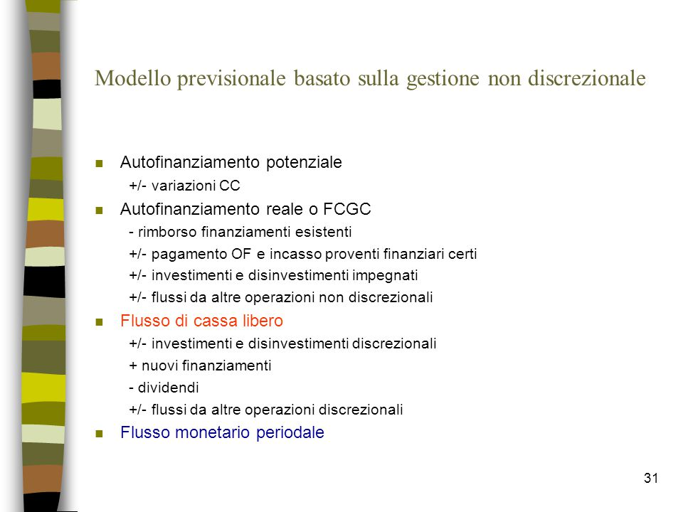 Modello previsionale basato sulla gestione non discrezionale