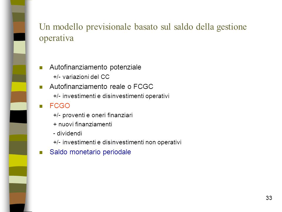 Un modello previsionale basato sul saldo della gestione operativa