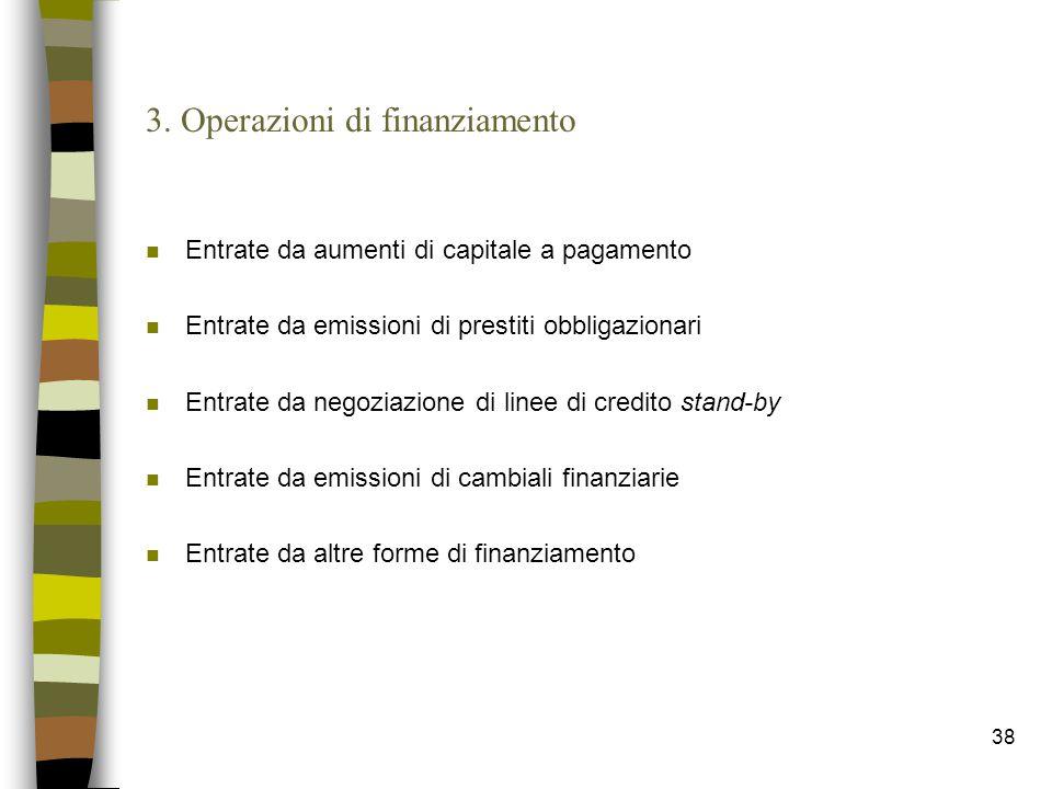 3. Operazioni di finanziamento