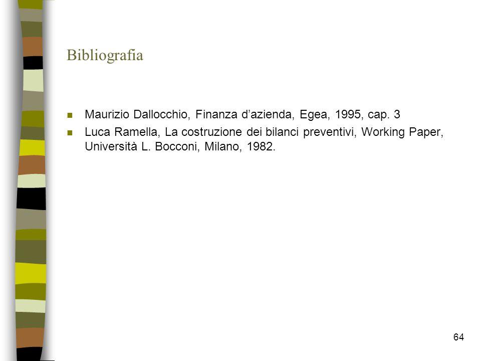 Bibliografia Maurizio Dallocchio, Finanza d'azienda, Egea, 1995, cap. 3.
