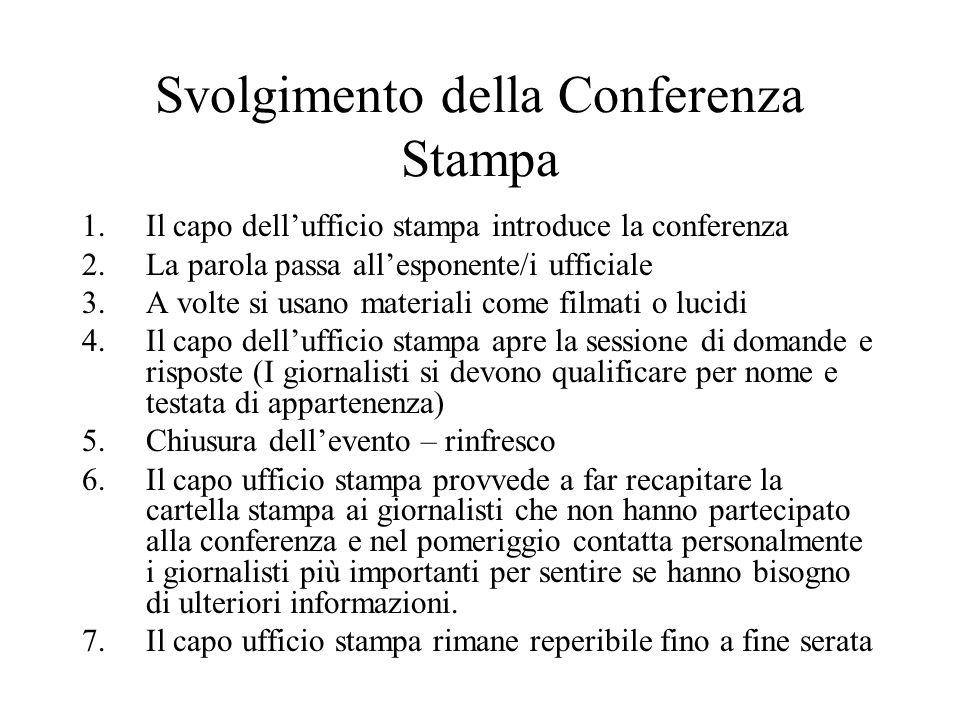 Svolgimento della Conferenza Stampa
