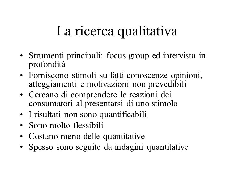 La ricerca qualitativa