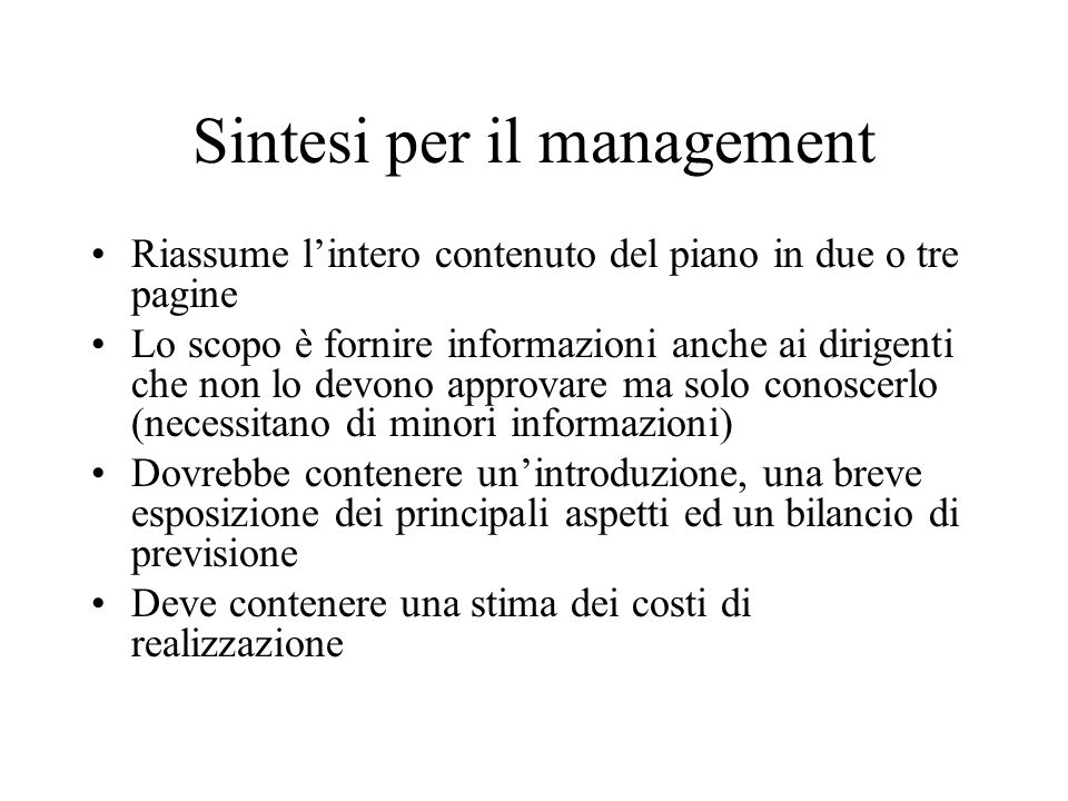 Sintesi per il management