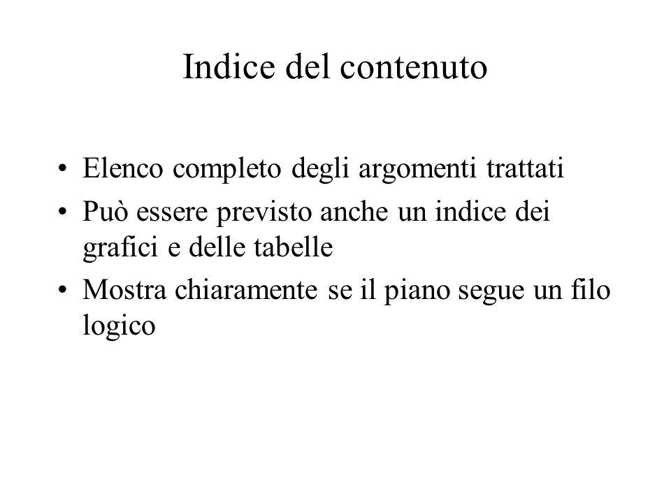 Indice del contenuto Elenco completo degli argomenti trattati