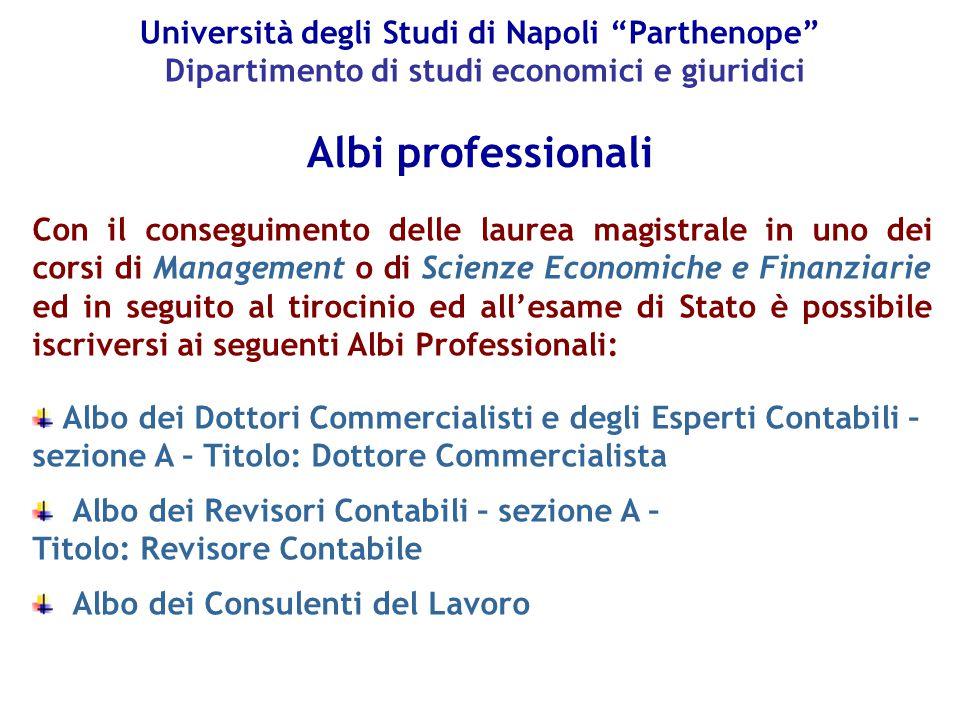 Università degli Studi di Napoli Parthenope Dipartimento di studi economici e giuridici