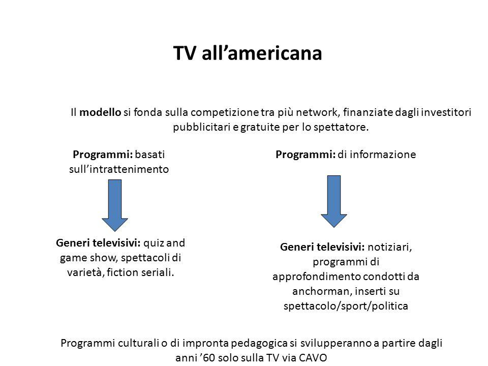 TV all'americana Il modello si fonda sulla competizione tra più network, finanziate dagli investitori pubblicitari e gratuite per lo spettatore.