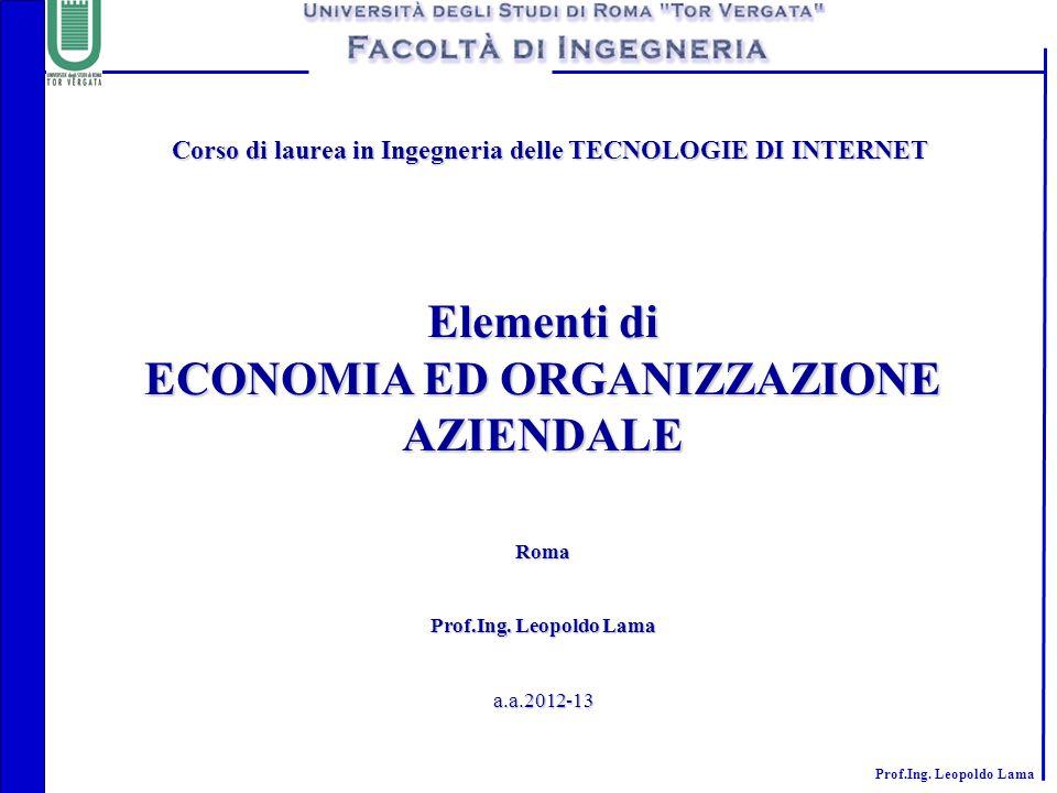 Elementi di ECONOMIA ED ORGANIZZAZIONE AZIENDALE