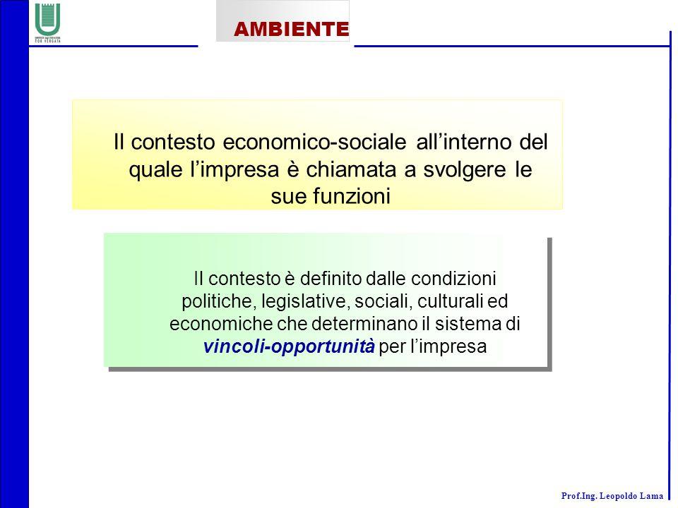 AMBIENTE Il contesto economico-sociale all'interno del quale l'impresa è chiamata a svolgere le sue funzioni.