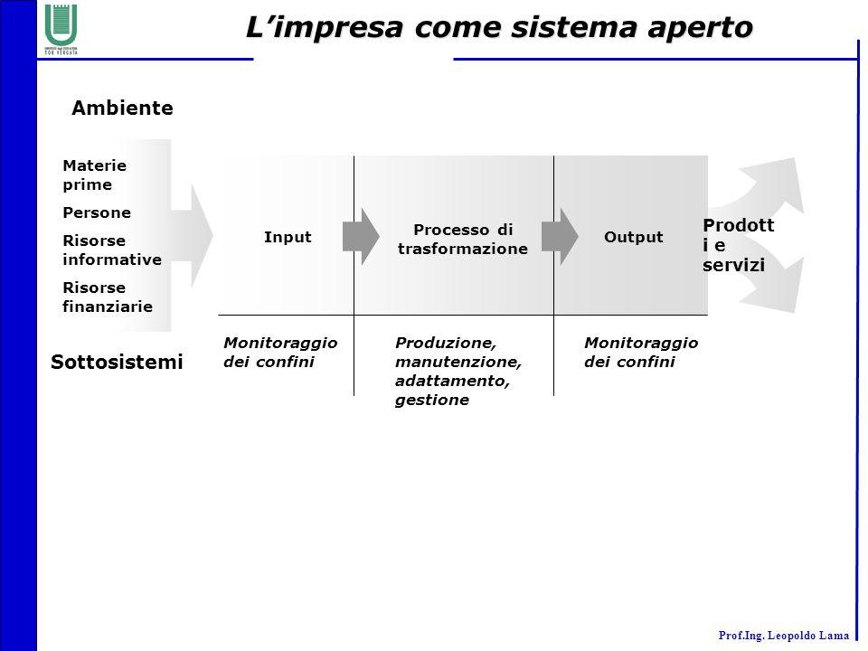 L'impresa come sistema aperto Processo di trasformazione