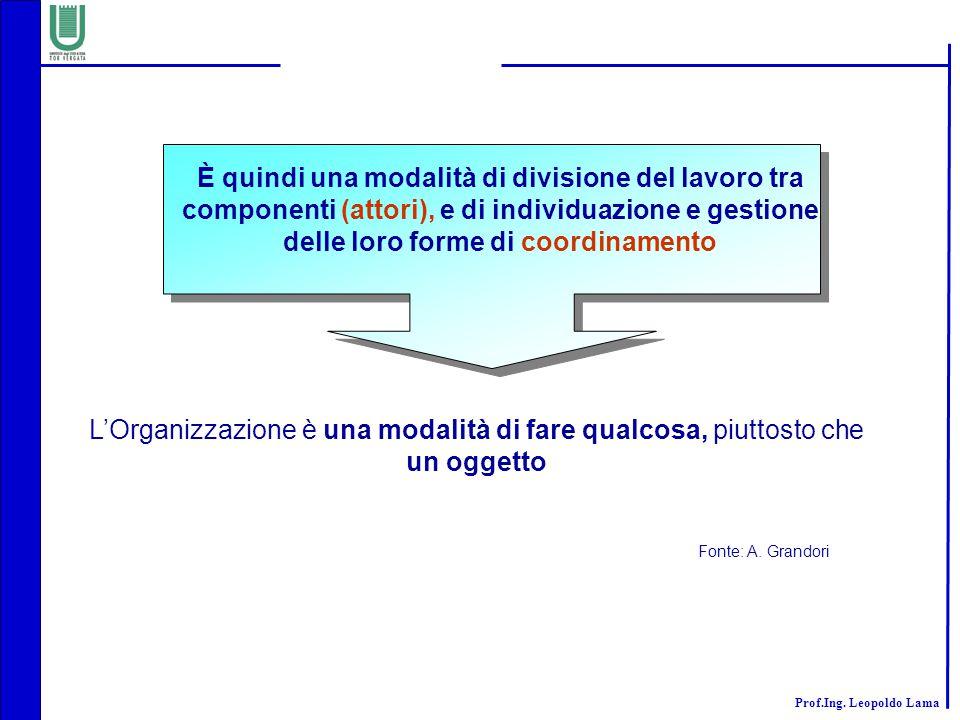 È quindi una modalità di divisione del lavoro tra componenti (attori), e di individuazione e gestione delle loro forme di coordinamento