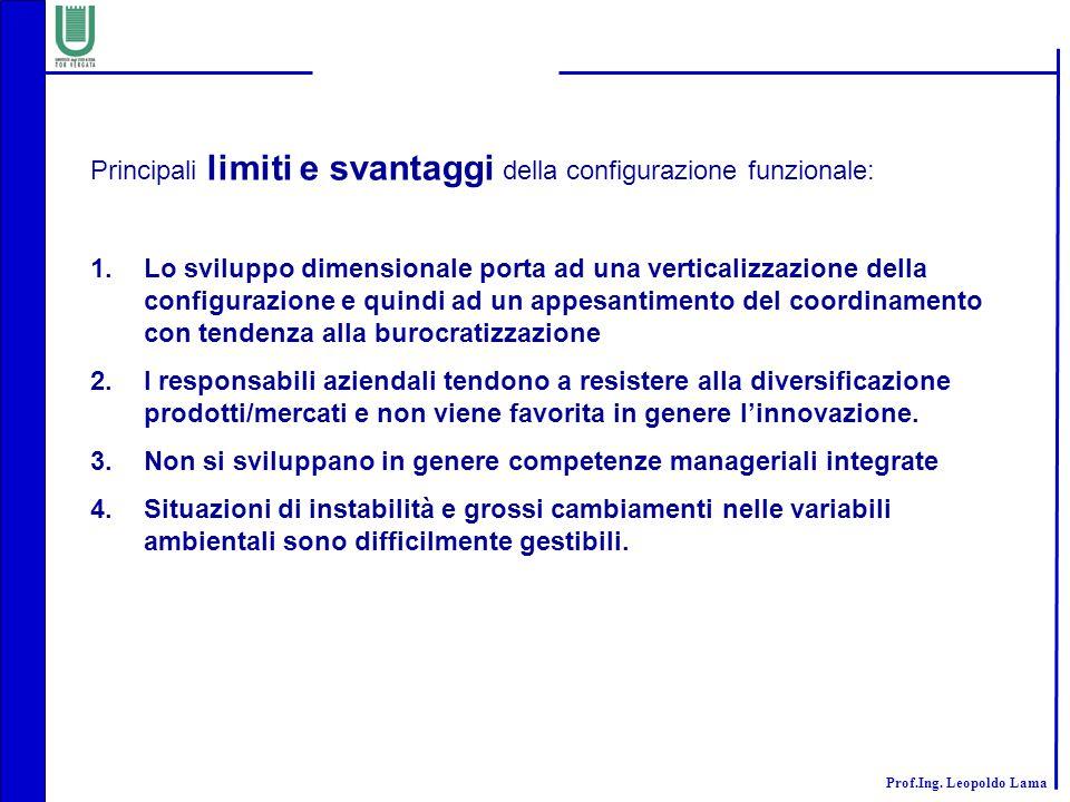 Principali limiti e svantaggi della configurazione funzionale: