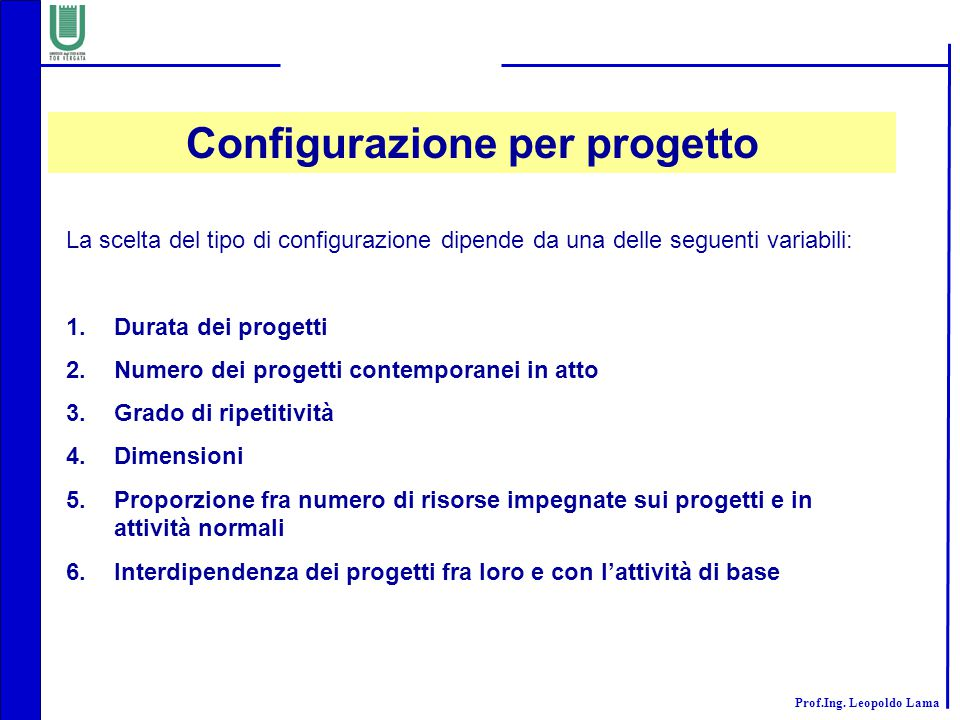 Configurazione per progetto