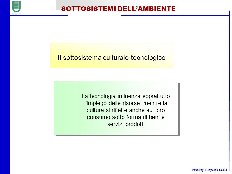 Il sottosistema culturale-tecnologico