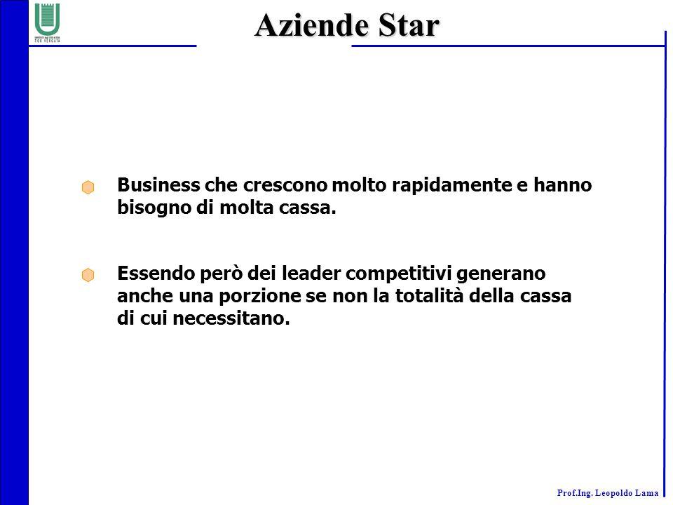 Aziende Star Business che crescono molto rapidamente e hanno bisogno di molta cassa.