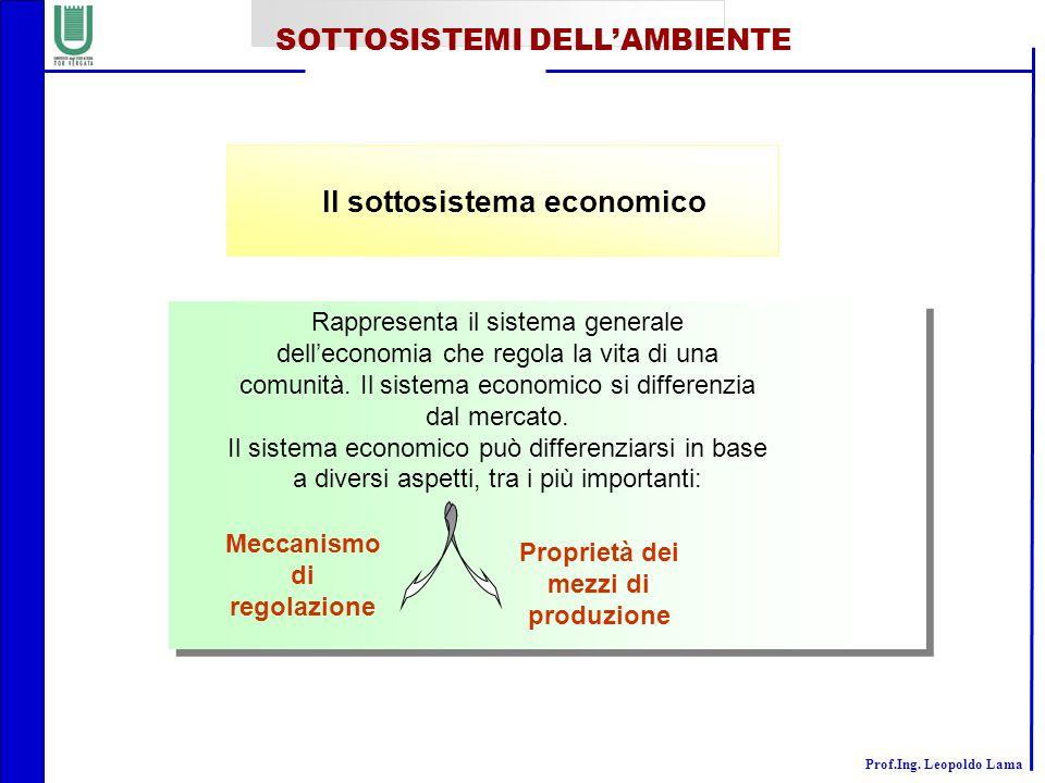 Il sottosistema economico
