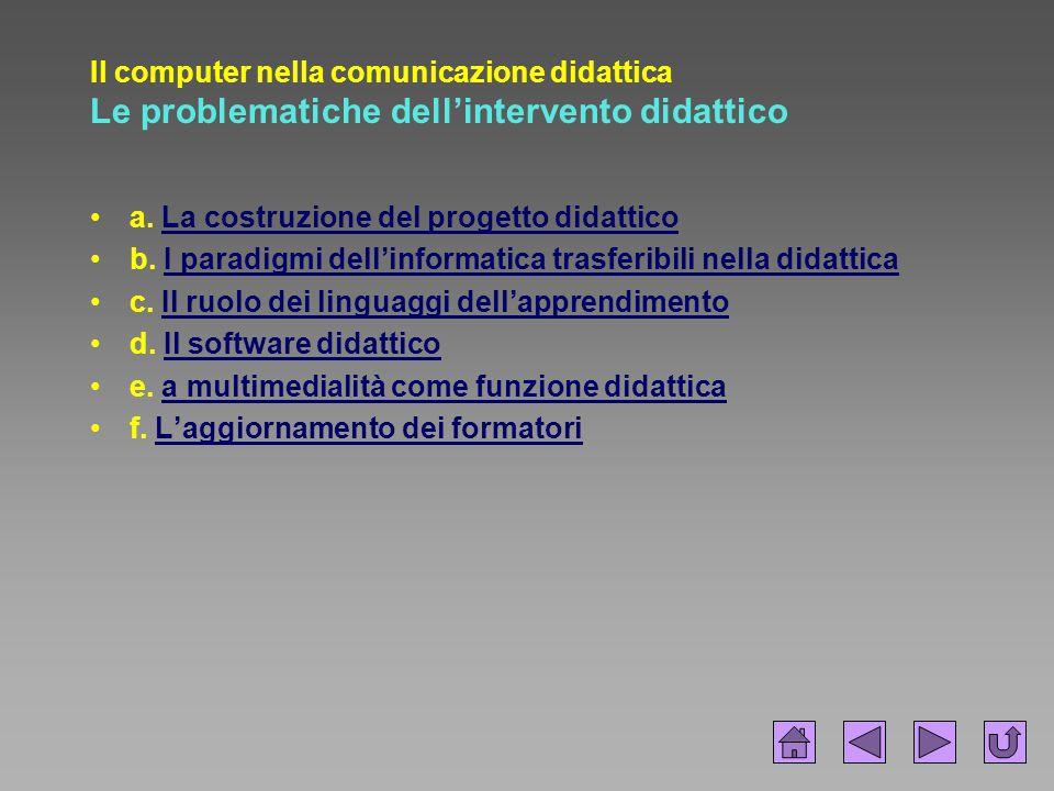Il computer nella comunicazione didattica Le problematiche dell'intervento didattico
