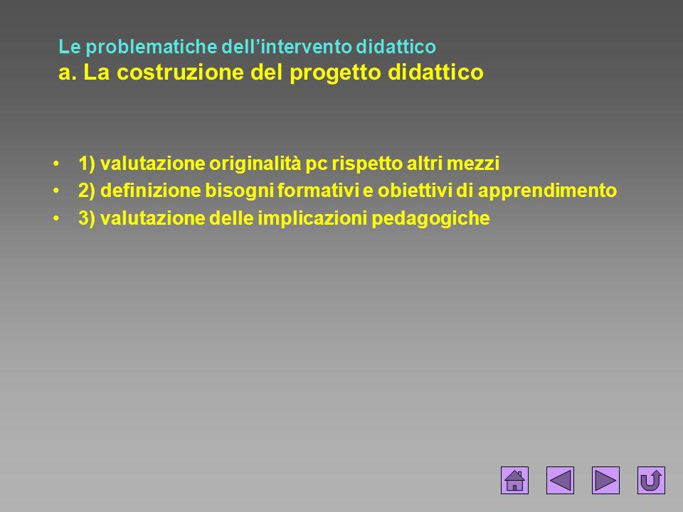 Le problematiche dell'intervento didattico a