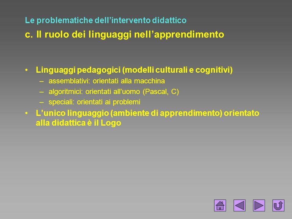 Linguaggi pedagogici (modelli culturali e cognitivi)