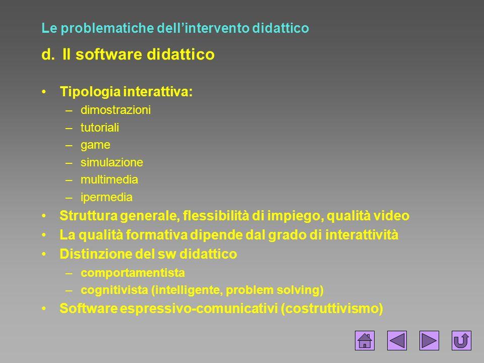 Le problematiche dell'intervento didattico d. Il software didattico