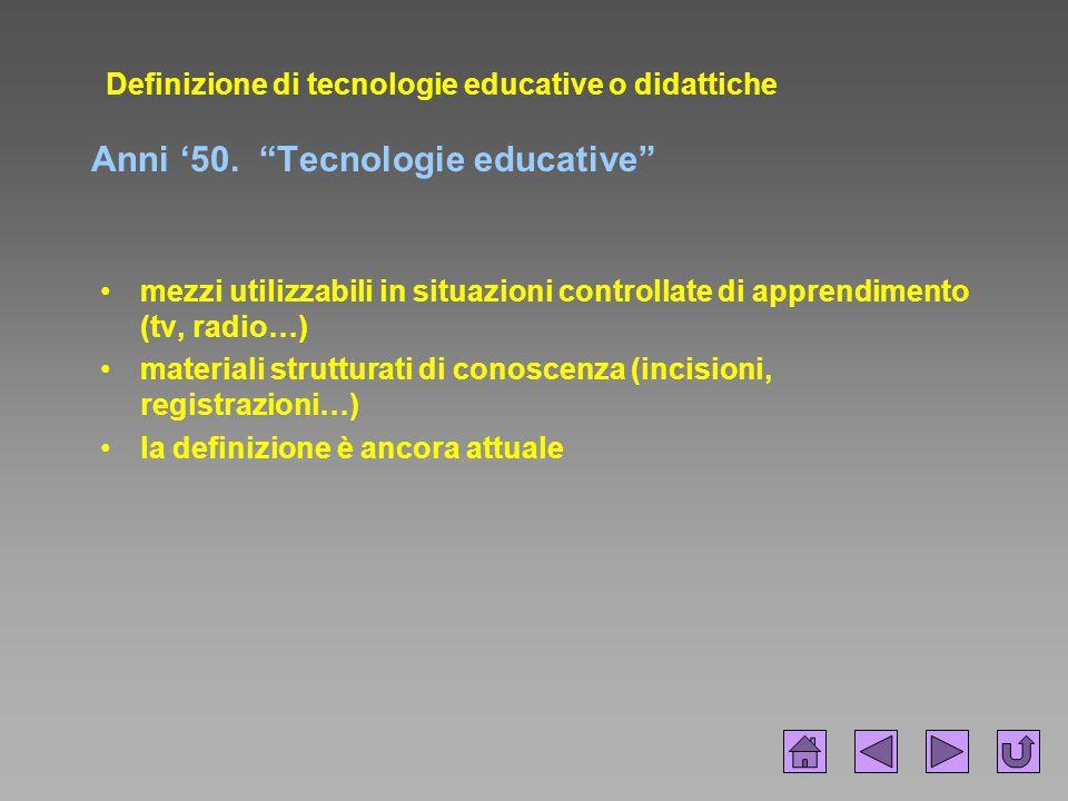 Definizione di tecnologie educative o didattiche Anni '50