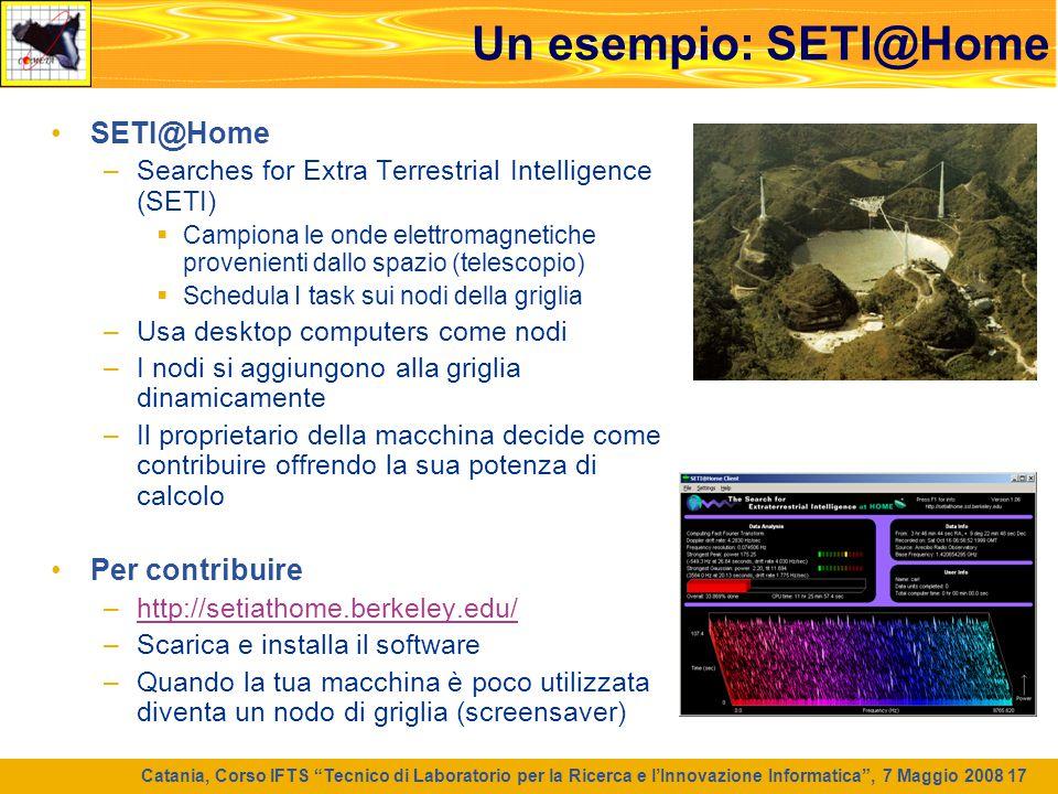 Un esempio: SETI@Home SETI@Home Per contribuire