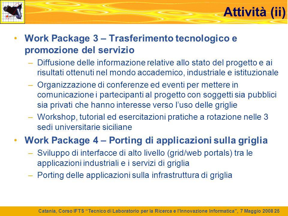 Attività (ii) Work Package 3 – Trasferimento tecnologico e promozione del servizio.